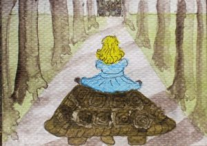 Blondie on the tortoise © Pip Harrison illustration for fairy tale