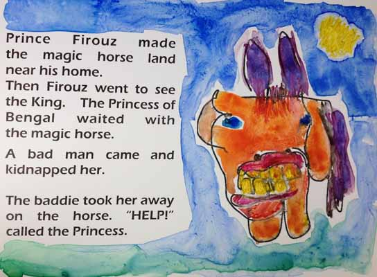 A mock-up of illustrated story page for The Magic Horse.