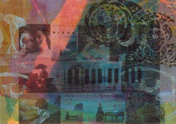 ATC featuring The Piano. Collaged elements on a monotype base.