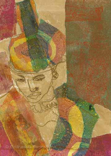 Melancholy woman in elaborate hat