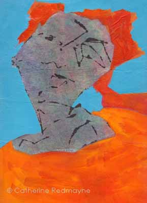 head of woman with orange dress on blue background