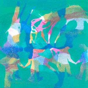 Find the crazy dancers in this abstract scene