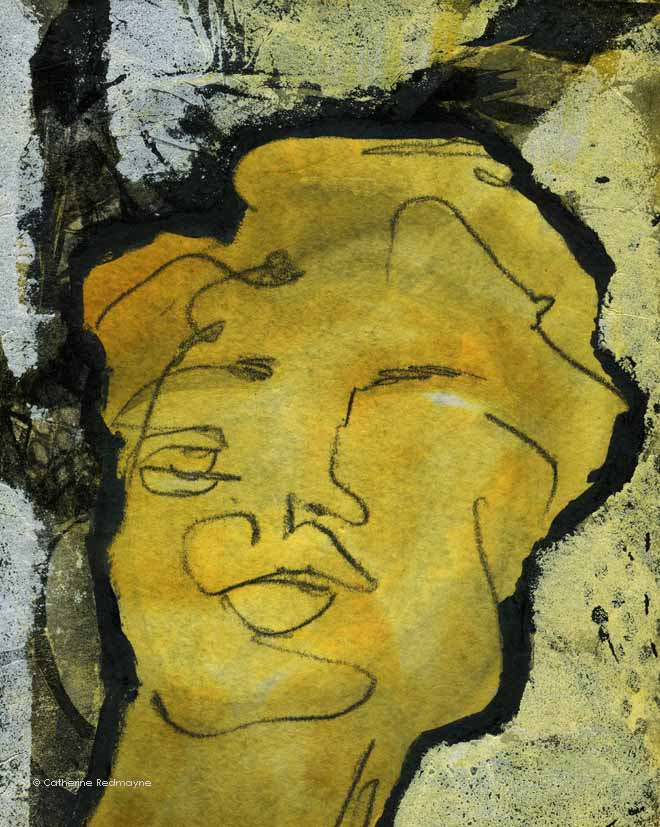 Experimental painting of a man's face with a monotype drawing mounted on a textured background by Catherine Redmayne