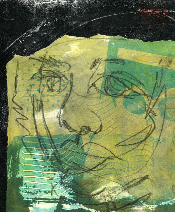 An expressive portrait of a woman. Collage with drawing and pattern on black background.