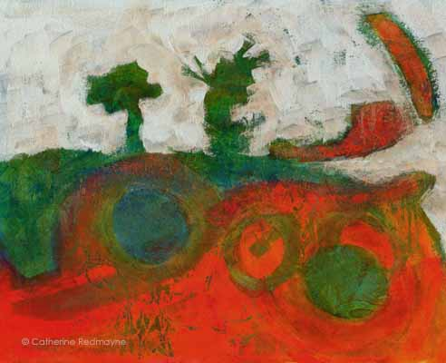 sort of abstract landscape inspired by the Moerake Boulders NZ