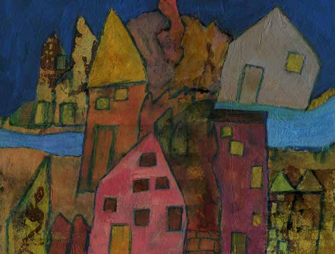 imaginary landscape of coloured houses